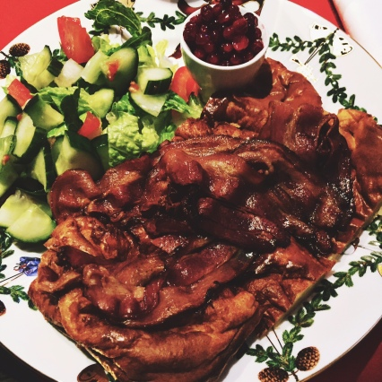 Meat pancake with bacon