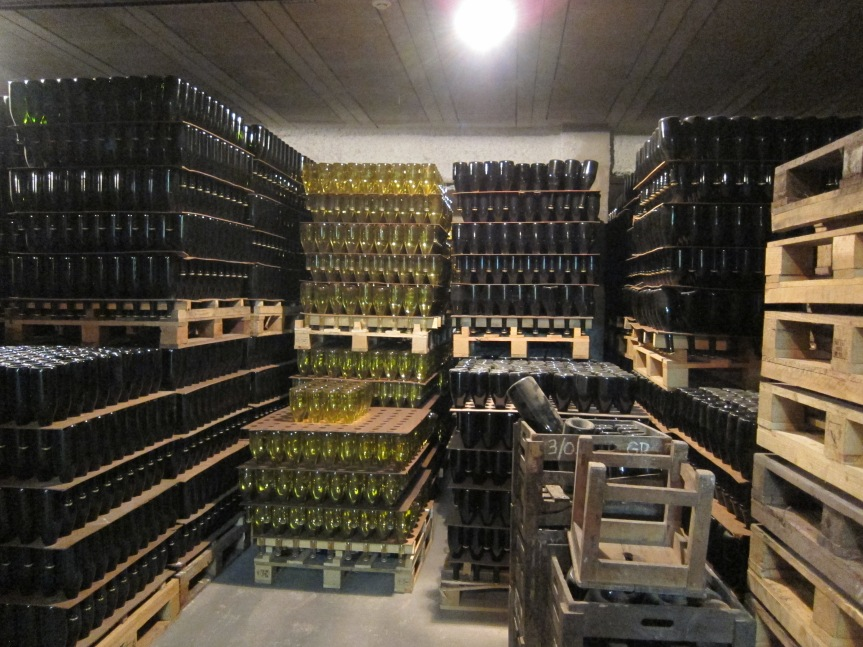 Bottles being stored