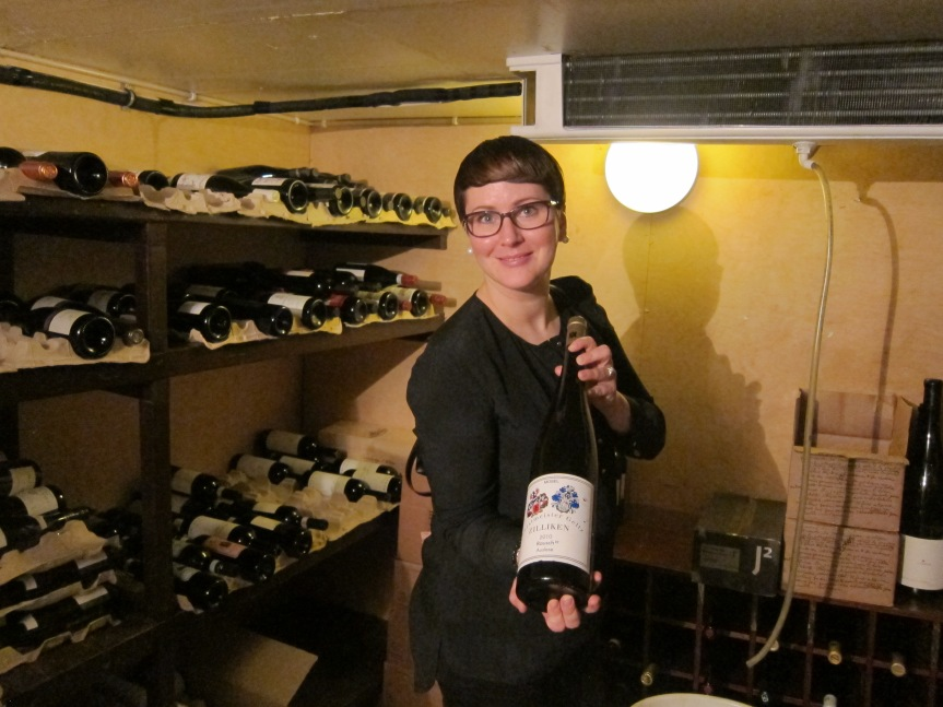 The Carelia Sommelier Iisa showing us around the cellar