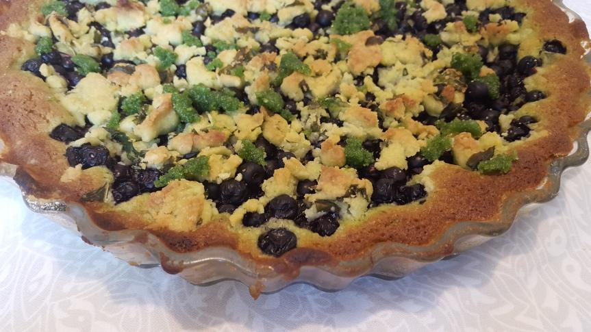 Blueberry pie with basil sugar (!!)