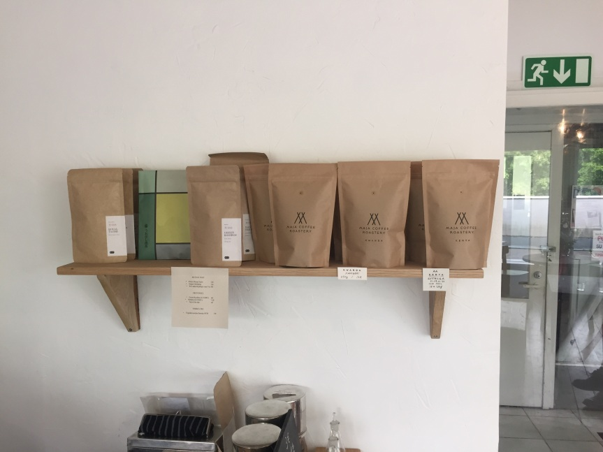 Tea and coffee shelf at Maja Roastery