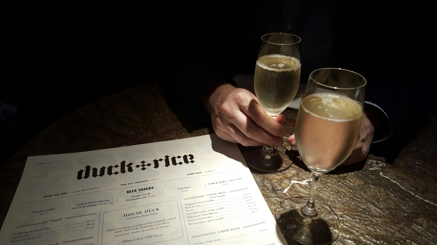 Thursday dinner at Duck and Rice. The cava, Rene Barbour was a steal at around five pounds per glass.