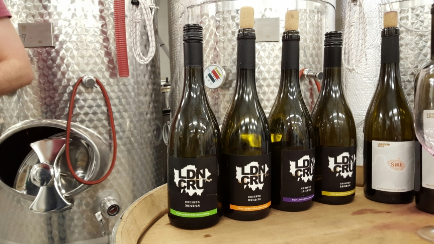 Tasting wines at London Cru, urban winery.