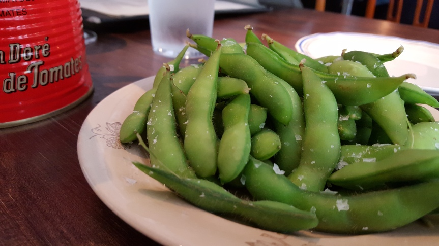 Some edamame to start the meal