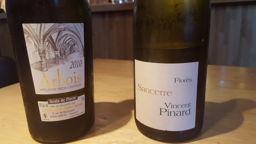 The whites: Sauvignon Blanc from Sancerre and Chardonnay from Jura.