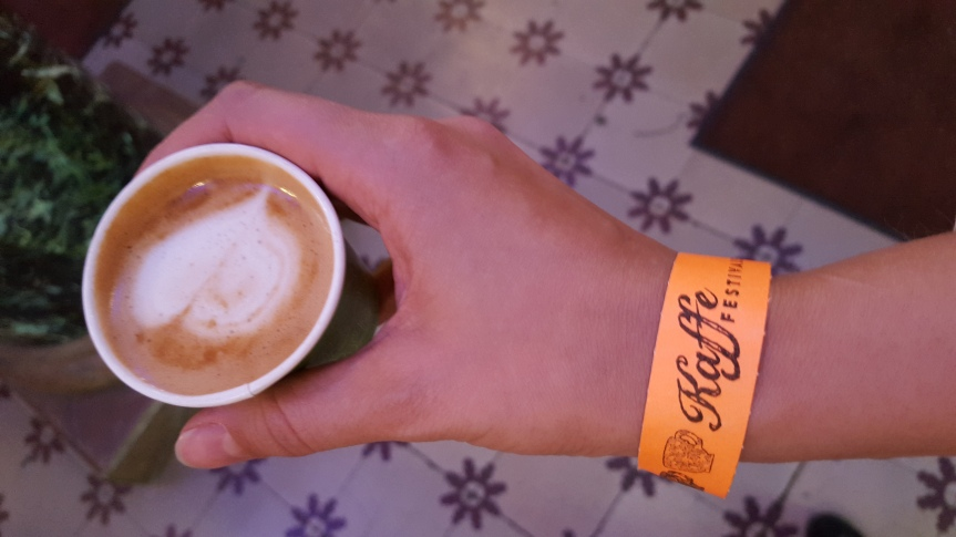 Drinking free coffee at Johan & Nyströms Coffee Festival