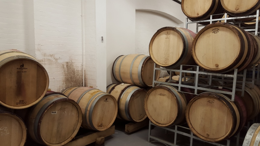 Oak barrels at London Cru