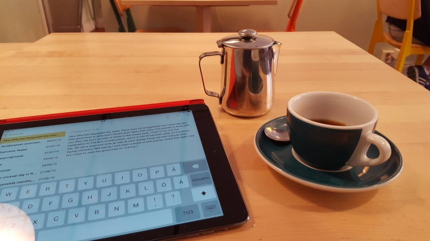 Having breakfast and writing this weeks post