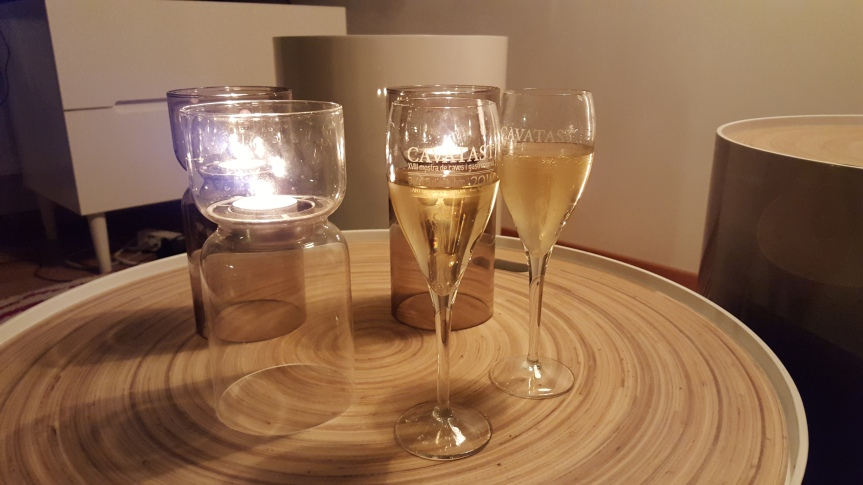 The three C's: Candles, comfy pants and champagne.