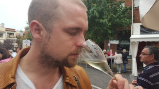 Patrik enjoying a cool glass of cava