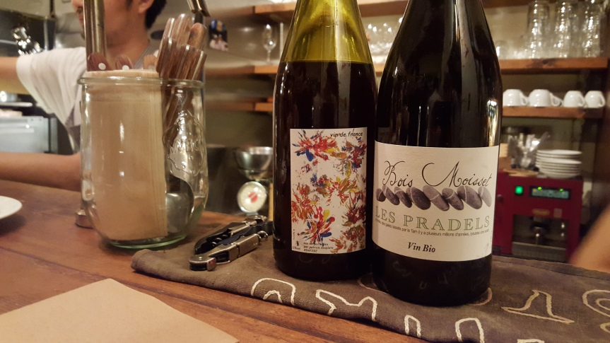 Trying out natural wines in a wine bar in Shibuya