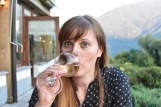Caught on camera sipping on local Sauvignon Blanc