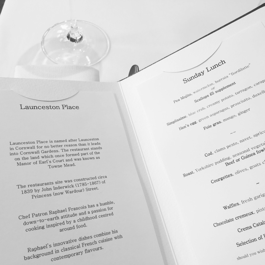 The Sunday roast menu at Launceston Place