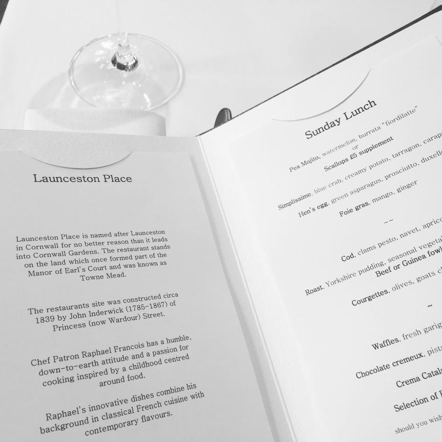 The Sunday roast menu at Launceston Place
