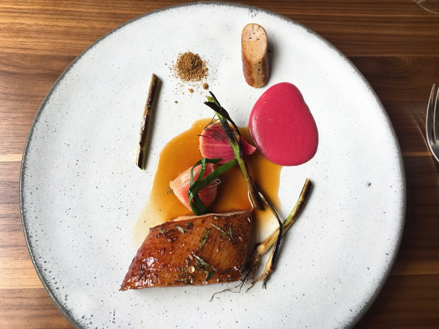 Duck and beetroot at Harwood Arms